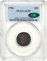 1796 10C PCGS/CAC AU55 -  TYPE COIN - BUST DIME -  TYPE COIN