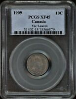 CANADA 10C 1909 VICTORIAN LEAVES PCGS XF45