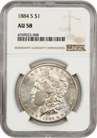 1884-S $1 NGC AU58 - KEY DATE FROM SAN FRANCISCO - MORGAN SILVER DOLLAR