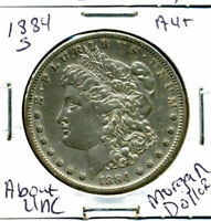 1884 S AU MORGAN DOLLAR 100 CENT  ABOUT UNCIRCULATED 90 SILVER US $1 COIN 3086