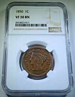 NGC VF-30 1850 UNITED STATES 1C LARGE CENT ANTIQUE 1800S US GOLD RUSH PENNY COIN