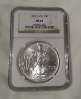 1993 MINT STATE 68 NGC AMERICAN SILVER EAGLE BROWN LABEL GRADED .999 SILVER COIN H