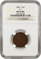 1854 1/2C NGC MINT STATE 62 BN C-1 BRAIDED HAIR HALF CENTS 1840-1857