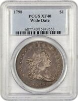 1798 LARGE EAGLE $1 PCGS EXTRA FINE 40 WIDE DATE BUST SILVER DOLLAR