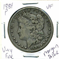 1884 P VF MORGAN DOLLAR 100 CENT   FINE 90 SILVER US $1 FINE COIN 1202