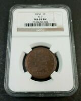 1850 N-7 PCGS MINT STATE 63 BN  BRAIDED HAIR LARGE CENT COIN 1C K130