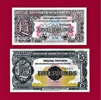 BRITISH ARMED FORCES 1950 UNC NOTES  2ND SERIES  1 POUND P M