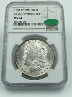1891-CC TOP-100 VAM-3 SPITTING EAGLE NGC & CAC MINT STATE 64