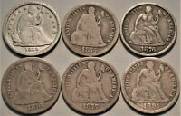 LOT  6  BETTER DATE SEATED LIBERTY DIMES 1838 1875 CC 1876 C