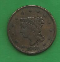 1842 BRAIDED HAIR LARGE CENT LARGE DATE   178 YEARS OLD