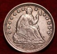 1853 PHILADELPHIA MINT SILVER SEATED LIBERTY HALF DIME WITH