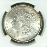 1881 MORGAN SILVER DOLLARNGC MINT STATE 63 BEAUTIFUL COIN REF55-032