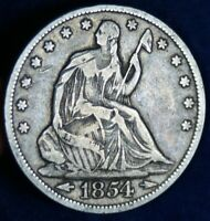 1854 50C SEATED LIBERTY SILVER HALF DOLLAR COIN