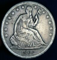 1866 S 50C SEATED LIBERTY SILVER HALF DOLLAR COIN