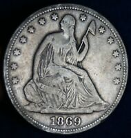 1869 S 50C SEATED LIBERTY SILVER HALF DOLLAR COIN
