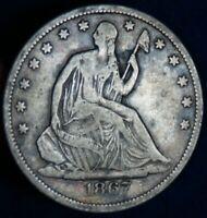 1867 S 50C SEATED LIBERTY SILVER HALF DOLLAR COIN