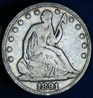 1891 50C SEATED LIBERTY SILVER HALF DOLLAR COIN