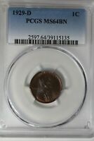 1929-D  PCGS 1C MINT STATE 64BN,   LINCOLN HEAD CENT, OLD COPPER, LINCOLN ONE CENT