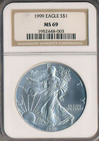 1999 AMERICAN SILVER EAGLE NGC CERTIFIED MINT STATE 69 SHIPS FREE