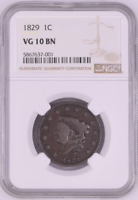 1829 1C CORONET HEAD LARGE CENT NGC VG 10 BN 1829 ONE CENT