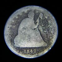 1842 O SEATED LIBERTY QUARTER   SMALL DATE AG   ABRASION ON