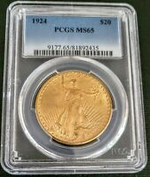 1924 ST. GAUDENS $20 GOLD DOUBLE EAGLE PCGS RARE GRADED MS65