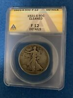 1921-S WALKING LIBERTY SILVER HALF DOLLAR ANACS F12 DETAILS -CLEANED