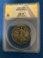 1921 WALKING LIBERTY SILVER HALF DOLLAR ANACS VG8 DETAILS -SCRATCHED