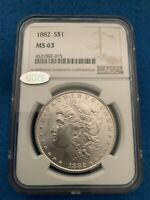 1882 MORGAN SILVER DOLLAR NGC MINT STATE 63