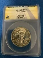 1941-D WALKING LIBERTY SILVER HALF DOLLAR ANACS AU58 DETAILS -CLEANED