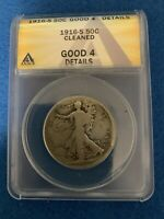 1916-S WALKING LIBERTY SILVER HALF DOLLAR ANACS GOOD4 DETAILS -CLEANED