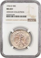 1934-D 50C NGC MINT STATE 65 EX: ADDAM COLLECTION - WALKING LIBERTY HALF DOLLAR
