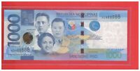 2017F PHILIPPINES 1000 PESO NGC DUTERTE TETANGCO SOLID NO. NOTE VD 888888 UNC