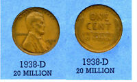 LINCOLN HEAD WHEAT CENT 1938 D AVERAGE CIRCULATED UNITED STATES 1 PENNY COIN B4