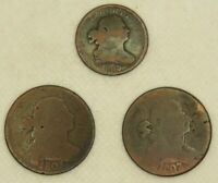 LOT OF  3  EARLY 1800S DRAPED BUST COPPER COINS    2  LARGE