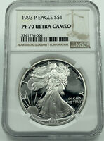 1993-P NGC PF70 ULTRA CAMEO SILVER EAGLE TOP POP FLAWLESS COIN BOX/COA INCLUDED