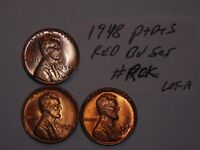 WHEAT CENT LOT 1948,1948D,1948S RED BU SET 1948-D,1948-S RED UNC LINCOLN CENT