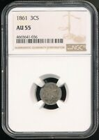 1861 3C SILVER 3-CENT PIECE NGC AU 55 LOW MINTAGE OF JUST 497,000