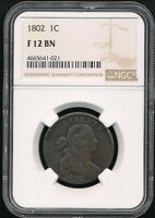 1802 DRAPED BUST LARGE CENT NGC F 12 BN  CHOCOLATE BROWN COIN