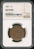 1851 BRAIDED HAIR LARGE CENT NGC AU 55 BN  CHOCOLATE BROWN COIN