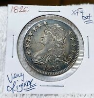 1826 CAPPED BUST HALF DOLLAR EXTRA FINE  SILVER 50C COIN ORIGINAL PATINA | SCR