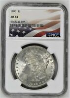 1896 MORGAN SILVER DOLLAR AMERICAN FLAG LABEL NGC MINT STATE 64