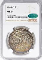 1904-O MORGAN SILVER DOLLAR NGC MINT STATE 64 CAC TONED