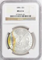 1896 MORGAN SILVER DOLLAR NGC MINT STATE 63 STAR TONED