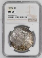 1896 SILVER MORGAN DOLLAR TONED NGC MINT STATE 64 PLUS