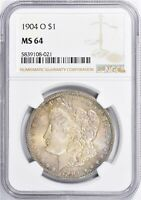 1904-O MORGAN SILVER DOLLAR NGC MINT STATE 64 TONED