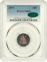1879 10C PCGS/CAC PR 65 - SEATED LIBERTY DIME - PRETTY TONING
