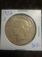 1926 S PEACE SILVER DOLLAR VF