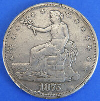 1875 S TRADE DOLLAR UNITED STATES SILVER COIN