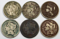 1865 THREE CENT NICKEL LOT   6 COINS CULL CONDITION